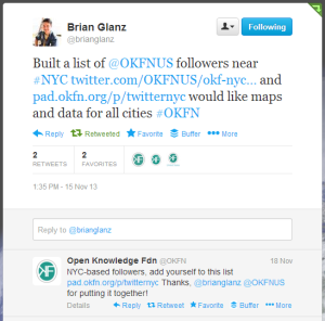 tweets about the @OKFNUS NYC list from 20131115